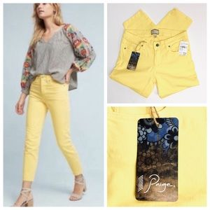 NWT Paige Premium Vibrant Yellow Roxie Capri 28